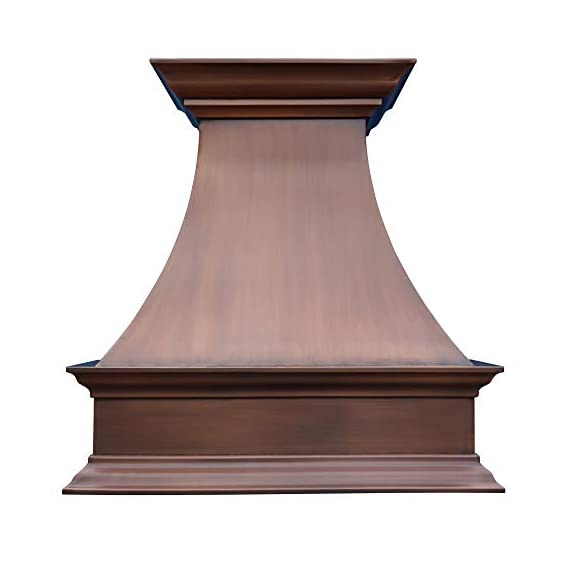 """SINDA Natural Beautiful Copper Kitchen Hood, Handcrafted by Skilled Artisan, Comes with High Air Flow Motor Fan, 48""""Wx42""""H Island Mount, Smooth-Natural Copper, H17SC-SNI4842 1 SIZE: Island Mount 48""""Wx42""""H.The width of an island mount copper range hood should be 3-6 inches wider than the cooktop. And the height range between your cooktop and the copper range hood should be from 30 to 36 inches. We suggest a height of 36 inches for an island mount. Custom sizes available upon request by email. Material: 16 gauge pure virgin copper. PATINA&TEXTURE: Smooth; Natural Copper. Want to touch a real finish? You may click on this link: https://www.amazon.com/dp/B07Q3FS4NQ. BASIC EQUIPMENT: Stainless Steel 304 Vent with Liner and Internal Motor, Reusable Baffle Filter, Grease Channel, Yellow LED lights(3W 12V) and 4-Speed Control; Powerful Airflow Fan: (30""""/36""""W: single motor, 610 CFM, 6"""" round duct; 42""""/48""""W: dual motors, 960CFM, 8"""" round duct); Ductless and remote blowers with In-line liner options available upon request by email;"""