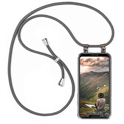 moex Handykette kompatibel mit Motorola Moto G7 Power Hülle mit Band Längenverstellbar, Handyhülle zum Umhängen, Silikon Hülle Transparent mit Kordel Schnur abnehmbar in Grau