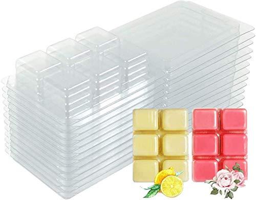Wax Melt Molds - 100 Packs Clear Empty Plastic Wax Melt Clamshells for Wickless Wax Melt Candles