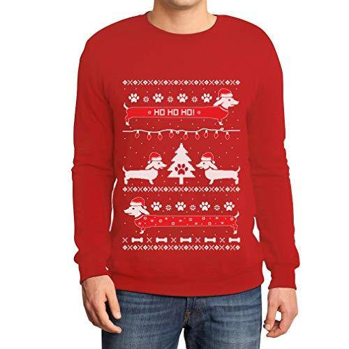 Shirtgeil Maglione Di Natale - Bassotti Nella Neve Felpa/Maglione Da Uomo Medium Rosso
