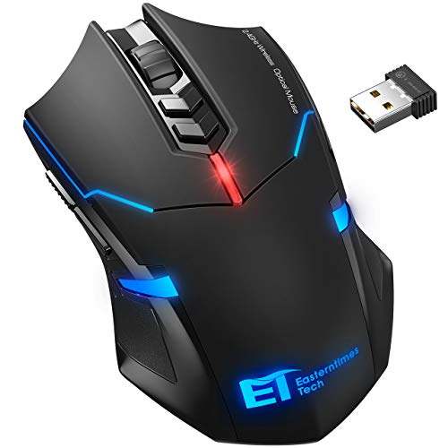 VicTsing Wireless Gaming Mouse with Unique Silent Click, Breathing Backlit, Wireless Mouse Gaming, Up to 2400 DPI, Ergonomic Grips, 7 Buttons, Black