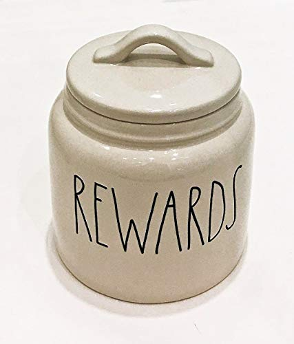 Rae Dunn Magenta Ceramic Pet Treat Canister Inscribed Rewards