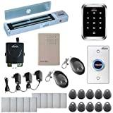 Visionis FPC-5146 One Door Access Control System Outswing Door 600lbs Magnetic Lock with VIS-3000 Outdoor IP68 RFID Keypad Entry Security and Wireless Remote EM MFR Standalone 2000 Users Kit