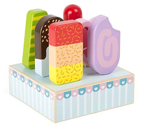 small foot 11070 Eis am Stiel mit buntem Eisständer aus Holz, FSC 100%-zertifiziert, sechs verschiedene Eissorten für das Rollenspiel im Kaufladen Spielzeug, Mehrfarbig