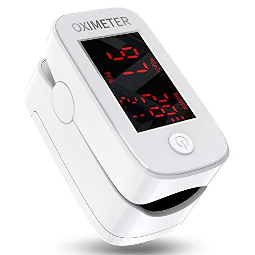 Saturimetro da dito,Pulsossimetro Digitale a dito con Display a LED,Monitor per Ossigeno,Cardiofrequenzimetro per Bambini,Anziani