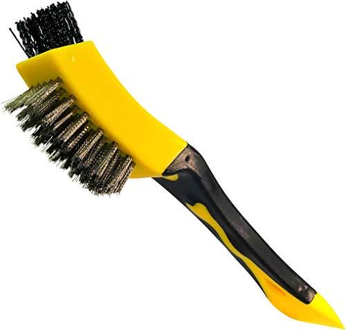AERZETIX - Cepillo de alambre de Hierro y Plástico 2 en 1 con raspador - Longitud 210mm - Raspador Metálico de Mano - Mango de plástico bimaterial - Limpieza/Decapado/Pintura/Óxido/Raspado - C45947