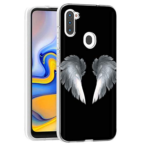 Clear Slim Total Cover Phone Case for Samsung Galaxy A11,SM-A115M,Angel Wing Print,Light Weight, Unbreakable, Flexible, Surround Edge Protection,Designed in USA