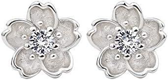 925 Sterling Silver Diamond Stud Earrings Flower stud earrings Earring for women Hypoallergenic product image