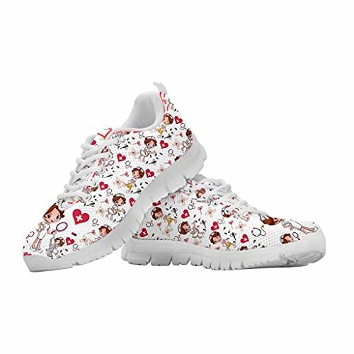 chaqlin Zapatos de trabajo para mujer, ligeros, para correr, casual, deporte, gimnasio, fitness, etc, color Blanco, talla 40 EU