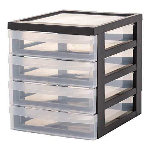Iris Ohyama, Posten mit 2 Mini-Aufbewahrungstürmen / Schreibtischorganisatoren mit 4 Schubladen - Design Kommode - DC-A5, Kunststoff, schwarz / transparent, 4 x 1,5 L, 25,8 x 19,1 x 22 cm