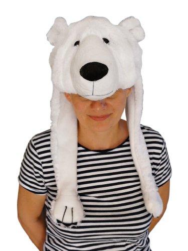 Eisbär-Mütze für Kostüm, F54, Eisbärmützen Eisbären-Zubehör Faschingskostüm, Fasching Karneval Fasnacht, Karnevals-Kostüme Männer u. Frauen, Faschings- Fasnachts- Tier-Kostüme, Geburtstags- Weihnachts-Geschenk