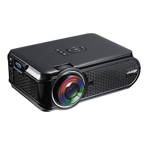 BJGUG Proyector Mini Proyector PortáTil 2000 LúMenes Soporte 1080P LCD Proyector De Cine En Casa 20000 Horas Vida úTil del Led Entrada Hdmi/Vga/USB/SD/AV,Black,Android6.0