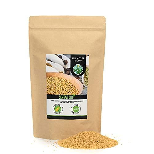 Semi di senape (500g), semi di senape gialli e bianchi 100% naturali, essiccati delicatamente, semi di senape senza additivi, vegani