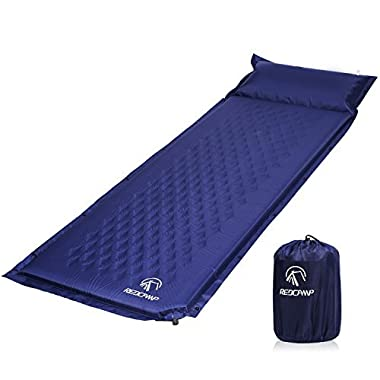 REDCAMP Self-Inflating Sleeping Pad with Attached Pillow, Compact Lightweight Camping Air Mattress with Quick Flow Value, Blue 77 x26 x1.2