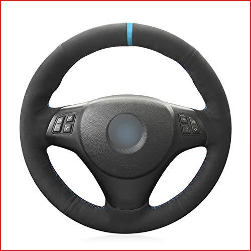 SDFGHT Schwarze Hand nähen Autolenkradabdeckung, für BMW M Sport M3 E90 E91 E92 E93 E87 E81 E82 E88 X1 E84 Kit