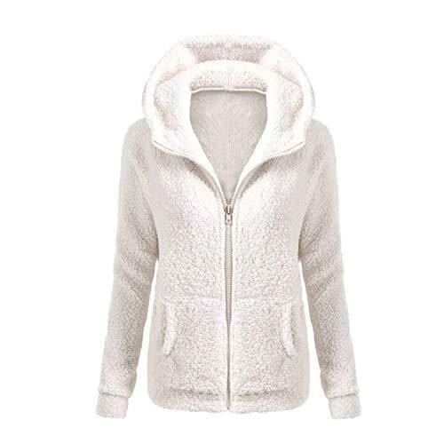 Preisvergleich Produktbild Solid Color Coat Women Thicken Soft Fleece Outwear Coat Winter Autumn Warm et Hooded Zipper Overcoat White 4XL