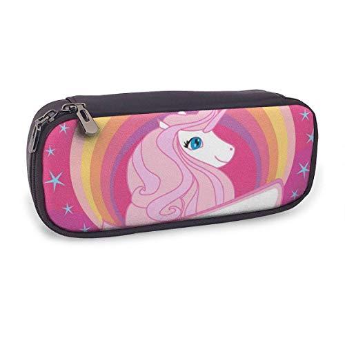 Estuche Escolar de Gran Capacidad,Unicornio Rosa,Bolsa de Lápiz Organizador para Material Papelería con Cremallera Doble