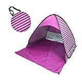 Chiatai Pop Up Beach Tent, Rated UPF 50+ for UV Sun Protection Waterproof Sun Shelters Camping Fishing Stripe Pink