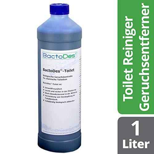 BactoDes-Toilet Geruchsentferner- und Reiniger-Zusatz für Camping-Toiletten | Biologische Sofort-Wirkung | Beseitigt schnell Urin- und Fäkalien-Geruch im WC-Fäkalientank - Aktiv - Frisch - Kraftvoll
