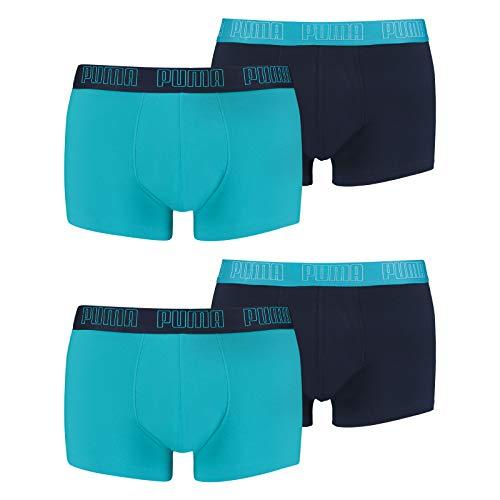 PUMA Herren Basic Trunk Boxershort 4er Pack Aqua / Blue (005) Größe:M