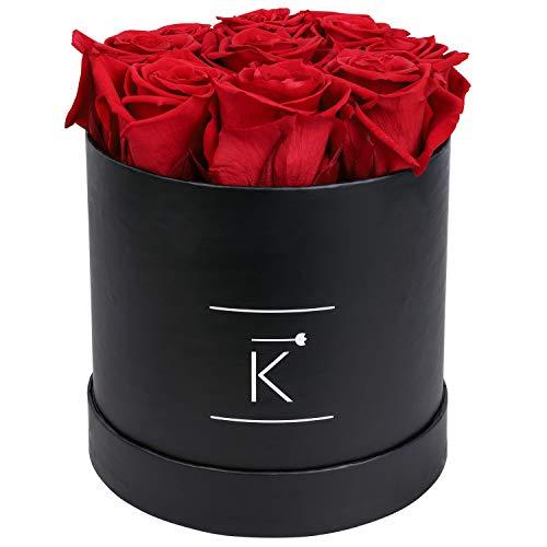 TRIPLE K - Rosenbox mit 9 Infinity Rosen, bis 3 Jahre Haltbar, Flowerbox mit konservierten Rosen, Blumenbox Inkl. Grußkarte