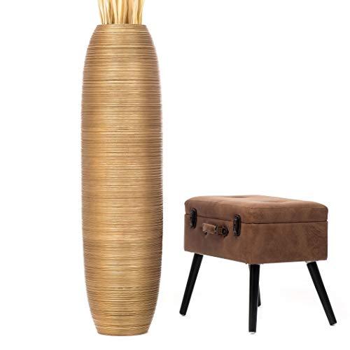 Leewadee jarrón Grande para el Suelo – Florero Alto y Hecho a Mano de Madera exótica, Recipiente de pie para Ramas Decorativas, 112 cm, Dorado