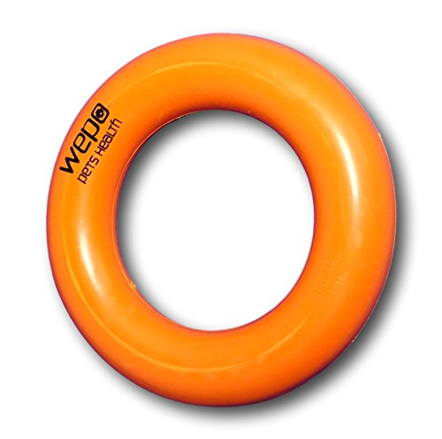 WEPO® Hundespielzeug-Ring/Robuster Naturkautschuk Kauring (Naturgummi) - Ø 9cm - für Welpen - Stabiler Hartgummiring - Welpenspielzeug - Orange