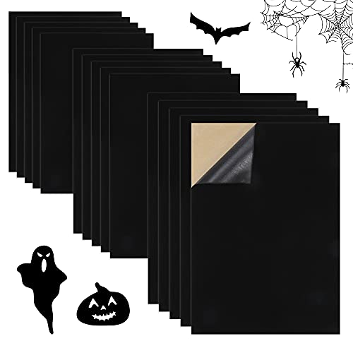 Sntieecr 15PCS Black Velvet Fabric Sticky, Back Adhesive Sheets Self-Adhesive Soft Velvet Fabric for DIY Halloween Craft and Jewelry Box Drawer Liner (A4 Size, 8.3