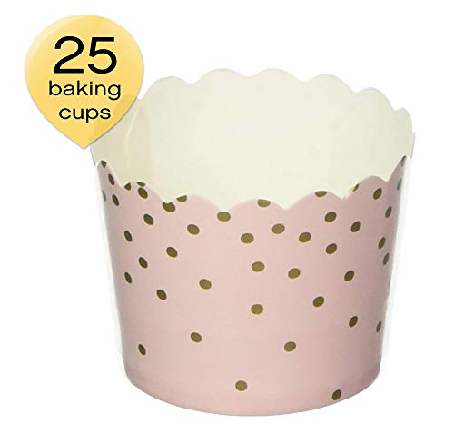 Simply Baked CSM-140 Disposable Paper Cups, 25-Pack, Pink & Gold Dots