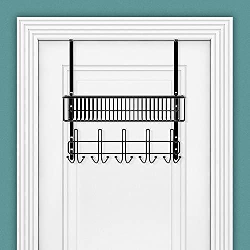 Over The Door Hooks with Mesh Basket - Multipurpose 10 Hooks Door Hanger, Organizer Coat Rack, Storage Rack for Bathroom, Closet, Kitchen, Pantry, Dorm, Office (Black)