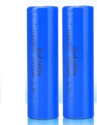 Lukytot 2 Pcs Batería 18650 Recargable Litio Lones Pilas 3.7V 2000mah Capacidad Baterías de Litio Células Acumuladoras para Timbre de Puerta LED Linterna Antorcha (Plano)-Plano