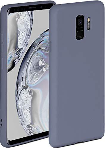 ONEFLOW Soft Hülle kompatibel mit Samsung Galaxy S9 Hülle aus Silikon, erhöhte Kante für Displayschutz, zweilagig, weiche Handyhülle - matt Blau Grau