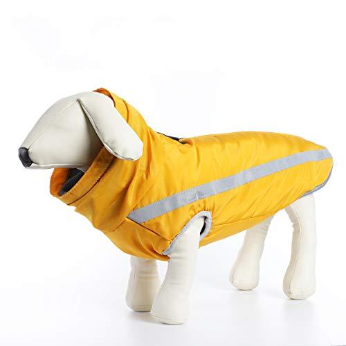 ubest Wasserdicht Hundemantel mit Fleece, Reflektierend Hundejacke Warm Wintermantel Winterjacke für Mittelere Große Hunde, Gelb, 3XL