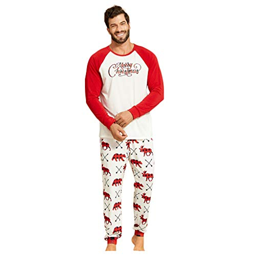 Amilum Christmas Parent-Child Two-Piece Sleeves, Christmas Pajamas Sets Family Matching Sleepwear Nightwear Homewear Outfit 2 Pieces I Love Santa for Father Mother and Kids