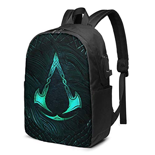 Assassin-s Cre-ED VA-LHA-LLA Laptop Backpack,Business Travel Durable Laptops Backpack with USB Charging Port, College School Computer Bag for Women & Men Fits MacBook AIR Pro