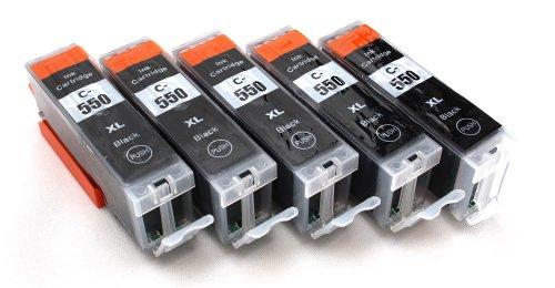 5 Multipack komp. XL Druckerpatronen für Canon Pixma MG7550 MG7150 MG6650 MG6450 MG6350 MG5655 MG5650 MG5550 MG5450s MG5400 MG5450 IP7250 IP8750 IX6850 MX725 MX925 kompatibel 5 x 550BK XL schwarz mit Chip