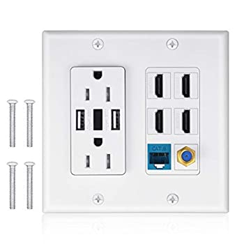 2 Power Outlet 15A with Dual 2.4A USB Charger Port Wall Plate with LED Lighting IQIAN 4 HDMI HDTV + 1 CAT6 RJ45 Ethernet + Coaxial Cable TV F Type Keystone Face Plate White
