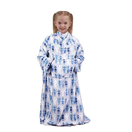 softan - Manta de forro polar con mangas y bolsillo para los pies, para niños y niñas