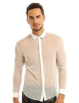 iEFiEL Men s Sexy See Through Mesh Long Sleeve Dress Shirt Top Clubwear White Medium