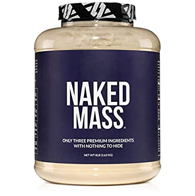 Naked Mass - Natural Weight Gainer Protein Powder - 8lb Bulk, GMO Free, Gluten Free & Soy Free. No Artificial Ingredients - 1,250 Calories - 11 Servings from NAKED nutrition