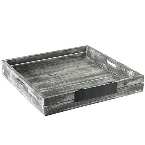 Whitewashed Gray Wood Crate Style Serving Tray with Handles Removable Metal Chalkboard Label