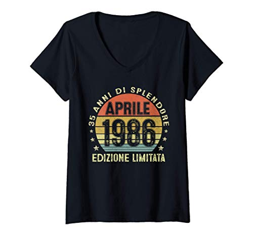 Donna 35 Anni Compleanno Uomo Donna Regalo Vintage Aprile 1986 Maglietta con Collo a V