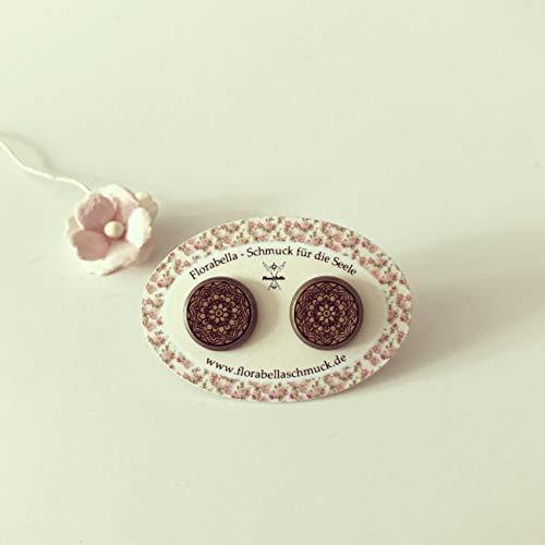 Mandala Ohrringe Holz-Art/Bronze / vintage/ethno / hippie/must have/statement / florabella schmuck/Unendlichkeit / Geborgenheit/Kultur