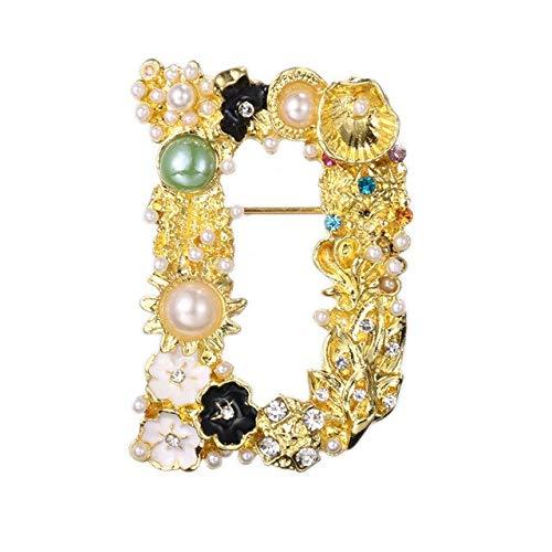 XZFCBH Retro Crystal Broche Parel Engels Brief Lapel Pin Shirt Sjaal Gesp Corsage Kraag Broches voor Vrouwen Sieraden Accessoires