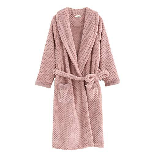 Pijamas de Terciopelo de Terciopelo de túnica cálida y Larga Gruesa para Mujer M