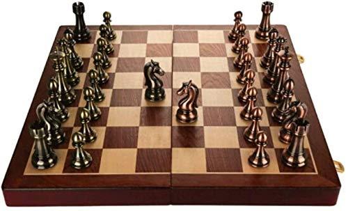 SSeir Conjunto de Caja de Regalo de ajedrez Creativo de Conjunto de Caja de ajedrez de Metal Bronce Pieza Plegable Especial para el Juego, Entrenamiento Diario (tamaño: Grande)