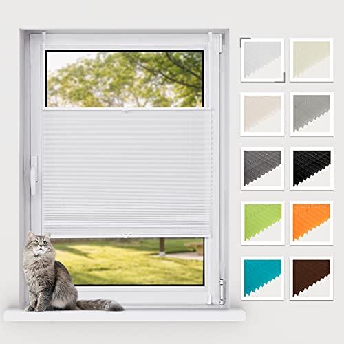 BelleMax Plissee ohne Bohren klemmfix, Jalousie Plisseerollo mit Klemmträger, Easyfix lichtdurchlässig Sichtschutz Sonnenschutz, Faltrollo für Fenster & Tür, (95x100cm, Weiß)