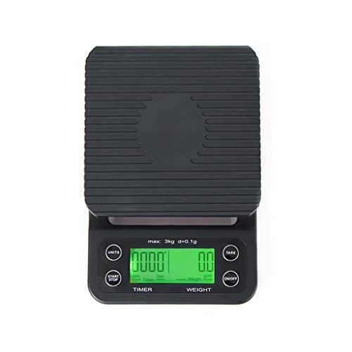 LICHUXIN Digital Cocina Escamas, (3kg,0.1g) Mini Café Escamas Eléctrico Cocina Escamas Retroiluminado LCD Monitor Tara Caracteristicas Inoxidable Acero Negro (Color : Black, Size : 195 * 130 * 30mm)