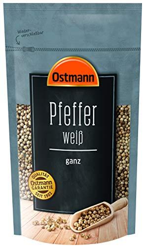 Ostmann Pfeffer weiß ganz 250 g, weiße ungemahlene Pfefferkörner, weißer Pfeffer ganz, für Pfefferstreuer & helle Speisen