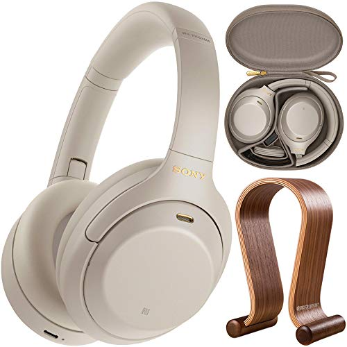 Sony WH1000XM4/S Premium Noise Cancelling Wireless Over-The-Ear Headphones Bundle with Deco Gear Wood Headphone Display Stand and Protective Travel Carry Case